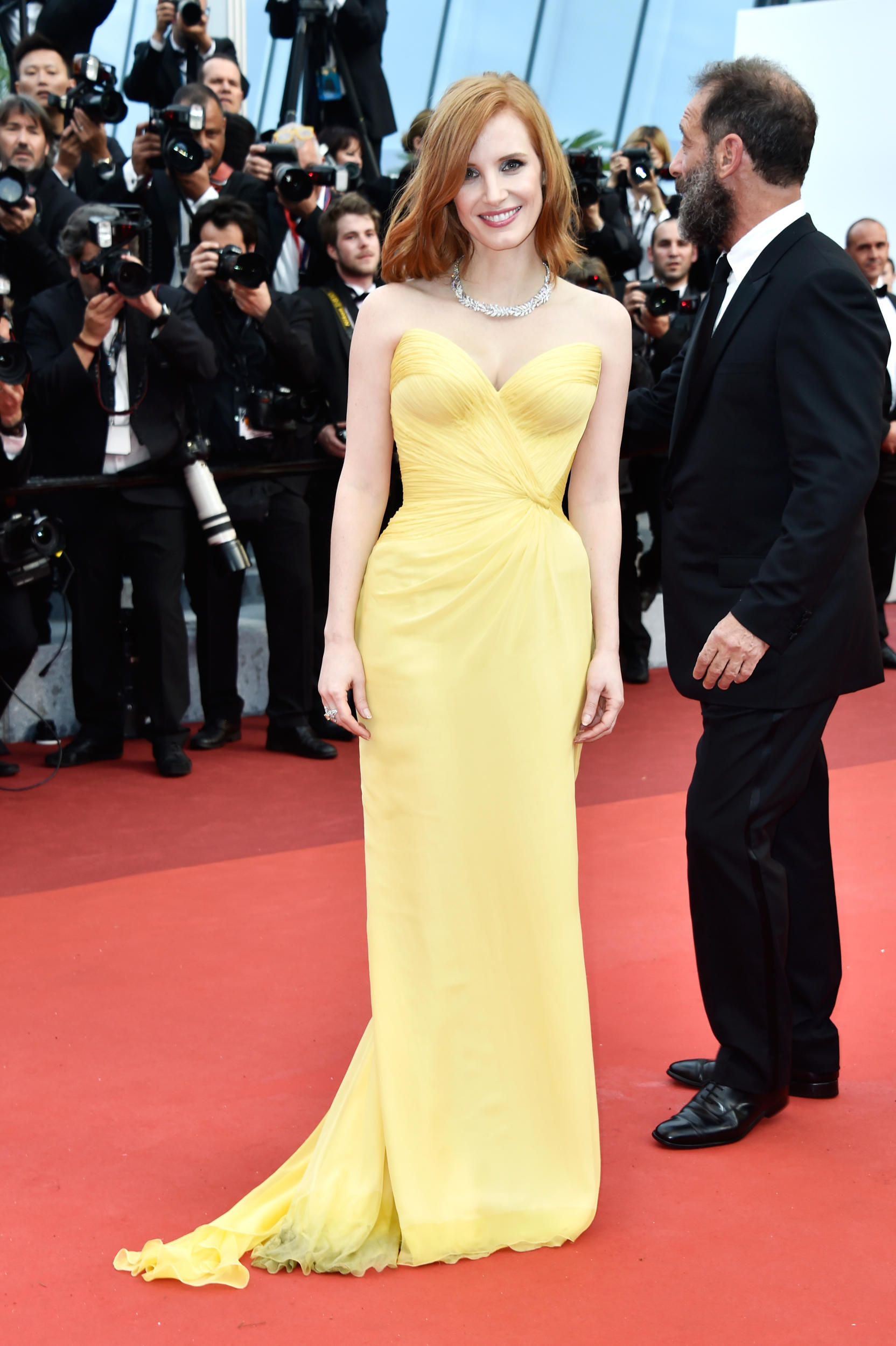 Jessica Chastain nailed this pale yellow ?????? gown