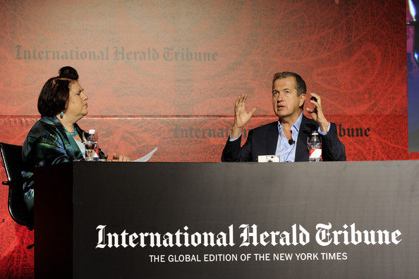 Mario Testino and Suzy Menkes at the 2011 International Herald Tribune's Luxury Business Conference in Sao Paulo Brazil