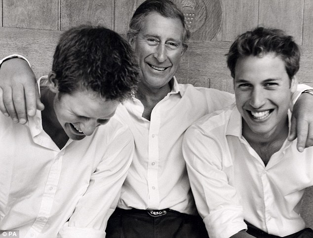 Mario Testino captured a sweet candid moment between Prince Charles and his sons Prince William and Prince Harry in 2004 to mark Prince Harry's 20th birthday