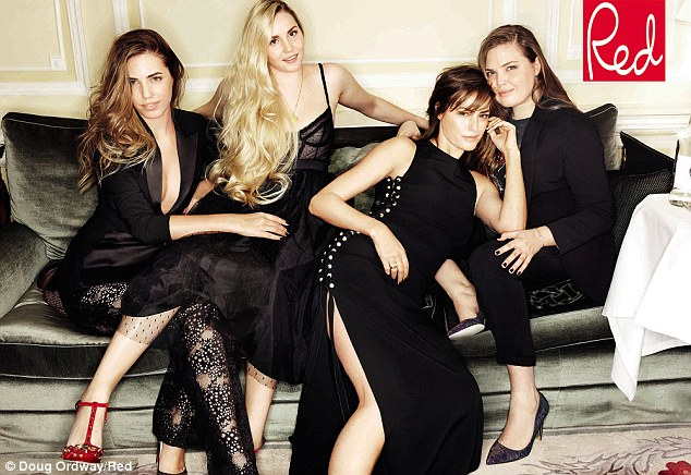 Picture perfect: Supermodel Yasmin Le Bon has posed with her three daughters Amber (left), Saffron (centre left) and Tallulah (right)