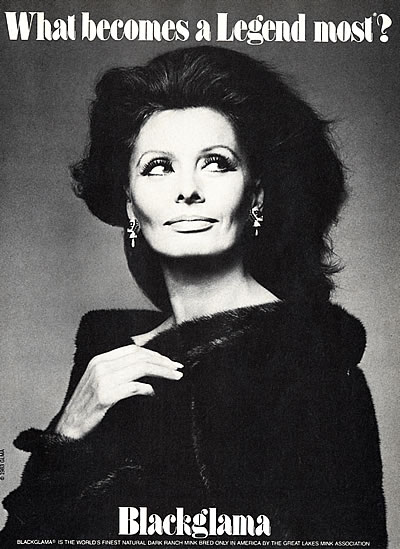Sophia Loren - Blackglama Mink What Becomes A Legend Most? Ad Campaign