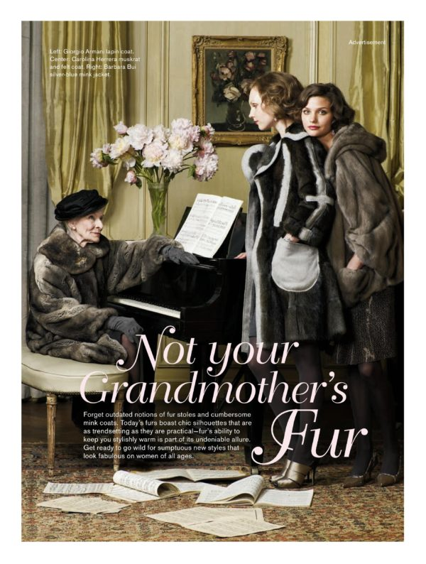Mimi Wedell's 2005 Vogue campaign for the International Fur Trade Federation