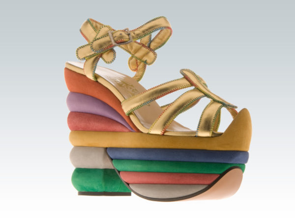 Ferragamo multicolors rainbow exclusive edition of a famous sandal created for Judy Garland featured in the Salvatore Ferragamo exhibit