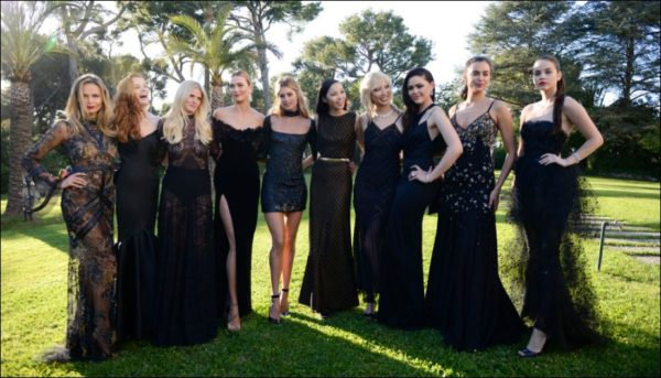 amfAR held its 23rd annual Cinema Against AIDS gala on Thursday night at the Hôtel du Cap-Eden-Roc during the Cannes Film Festival. From left, Natasha Poly, Alexina Graham, Lara Stone, Karlie Kloss, Doutzen Kroes, Luma Grothe, Soo Joo Park, Kristina Bazan, Irina Shayk and Barbara Palvin.