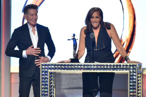 Designer Calvin Klein presents designer Donna Karan with The Founders Award In Honor of Eleanor Lambert at the 2016 CFDA Fashion Awards
