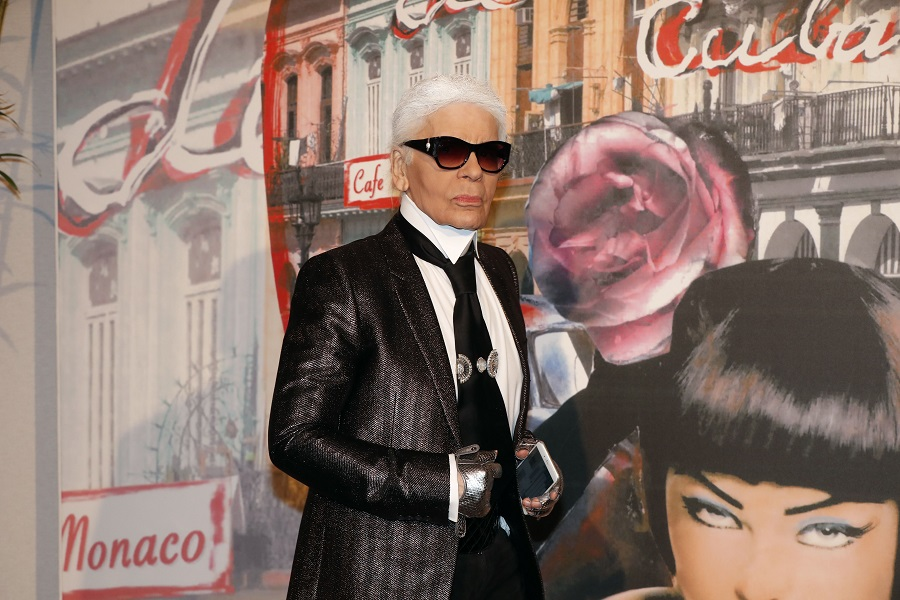 Fashion designer Karl Lagerfield arrives for the annual Rose Ball at the Monte-Carlo Sporting Club in Monaco, on March 19, 2016. The Rose Ball is one of the major charity events in Monaco. Created in 1954, it benefits the Princess Grace Foundation. / AFP / VALERY HACHE (Photo credit should read VALERY HACHE/AFP/Getty Images)