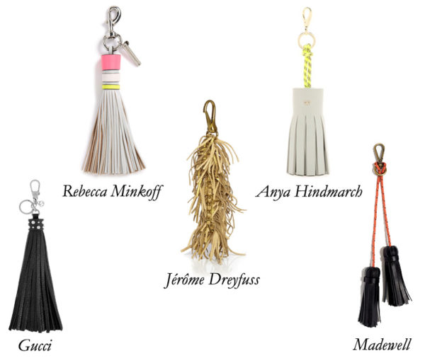Gucci, AnyaHindmarch, JeromeDreyfuss, Madewell and Rebecca Minkoff tassel charms