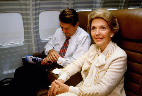 First Lady Nancy Reagan wearing an Adolfo sui