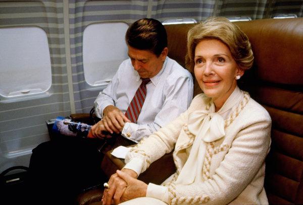 First Lady Nancy Reagan wearing an Adolfo sui