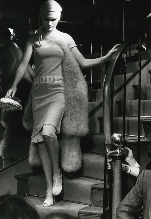 a model from 1976 about to walk the catwalk at a Sonia Rykiel runway show