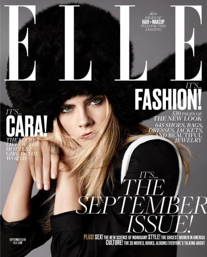 It girl Cara Delevingne on Elle's September 2016 cover is always a sure bet