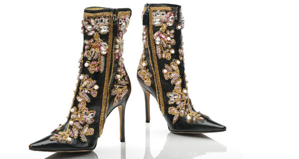 Dolce & Gabbana, leather ankle boots with gold, white and pink embroidery, 2001. Photo © Victoria and Albert Museum, London.