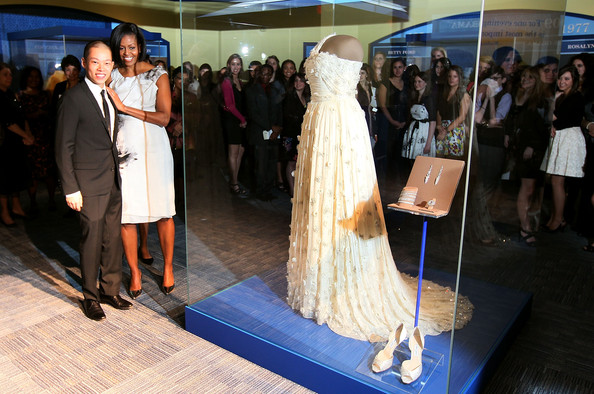 First Lady Michelle Obama and designer Jason Wu--and the first Inaugural Ball Jason Wu gown--donated to the National Archives, Washington DC