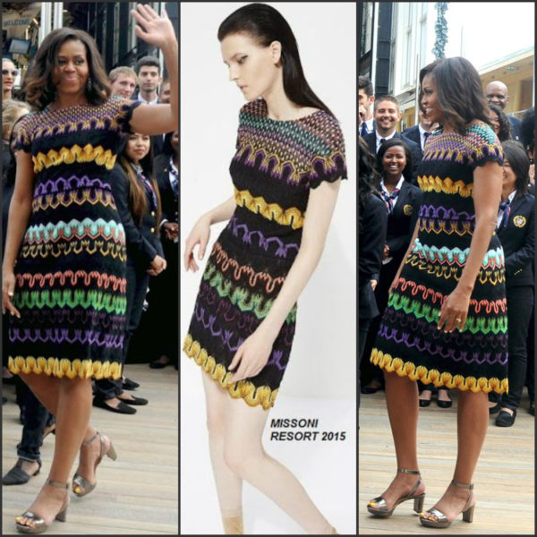 First Lady Michelle Obama arrives at the United States Pavilion at the Milan Expo 2015 on June 18, 2015 wearing a dress by Missoni