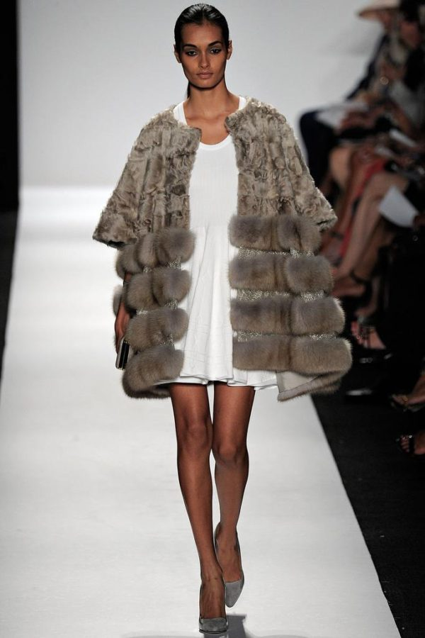 Gizele Oliveira walks the runway at Dennis Basso show during Mercedes-Benz Fashion Week Spring 2015