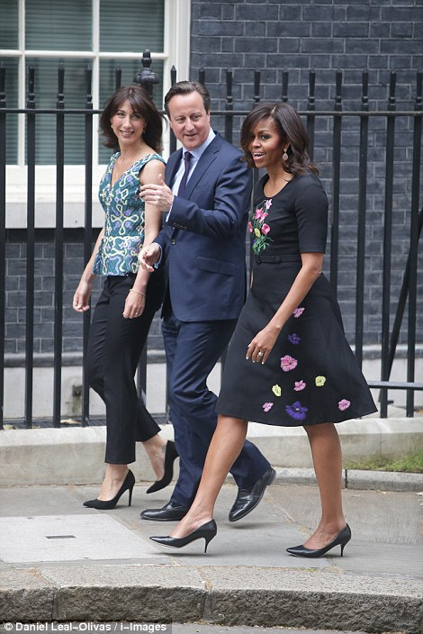 Michelle Obama wearing Christopher Kane for a visit to Prime Minister David Cameron