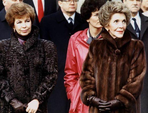 Nancy Reagan and Raisa Gorbachev in December of 1987