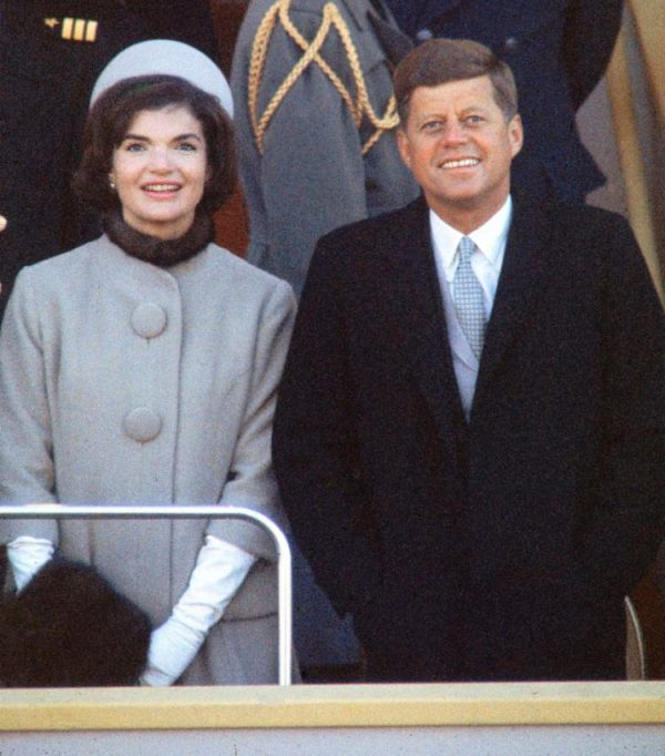 President Kennedy with First Lady Jackie, in fur-trimmed suit designed by Oleg Cassin