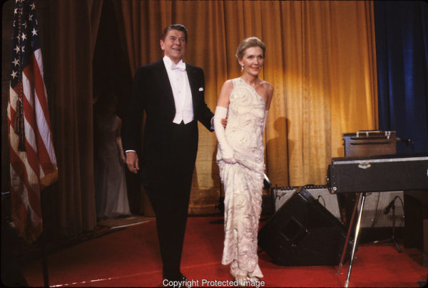 President and First Lady Nancy Reagan in a custom James Galanos gown for the 1981 Inaugural Ball