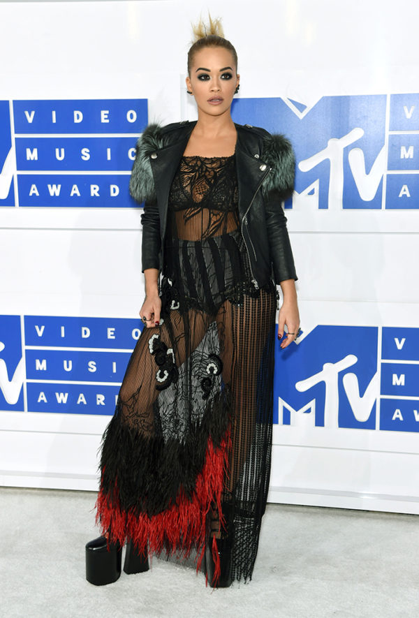 Rita Ora in Marc Jacobs under normal circumstance might have gotten a comment about coming out of a clown car, but for the VMAs she was a hit