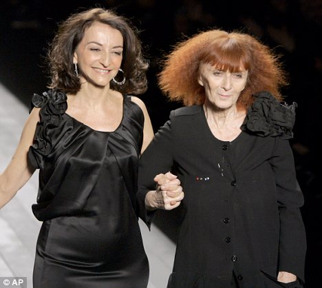 Sonia Rykiel (right) on the catwalk with her daughter Nathalie.
