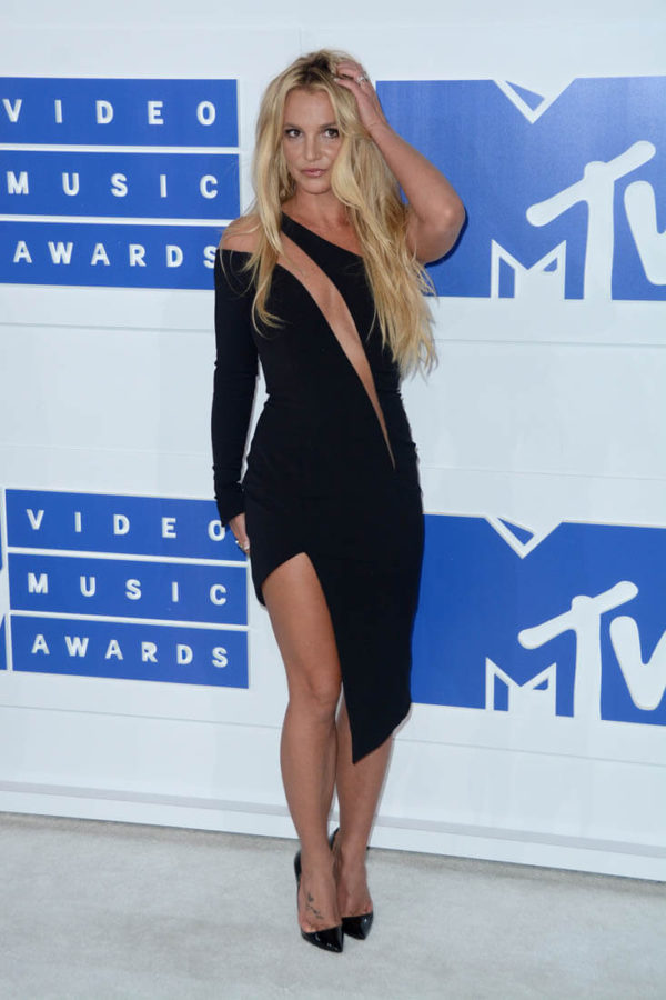 Britney Spears looked svelte and lucid in her black Julien MacDonald dress