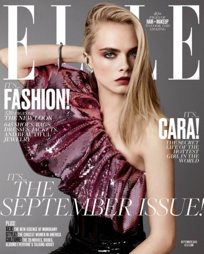 Cara Delevingne on Elle's September 2016. Double cover issue