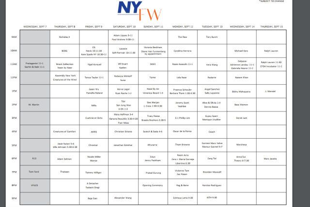 Official NYFW Spring 2017 Show schedule