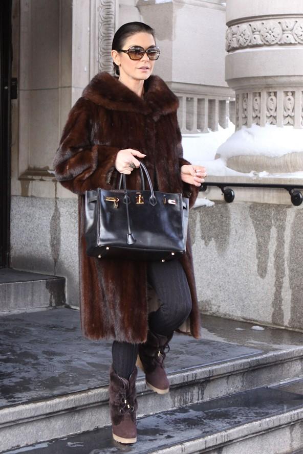Catherine Zeta Jones in a fur coat in New York