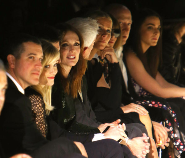 More front row celebs at the Tom Ford show. Seen Above: Reese Witherspoon, Julianne Moore, Gwyneth Paltrow Who was also there: Beyoncé, Jay Z, Sofia Vergara, J. Lo
