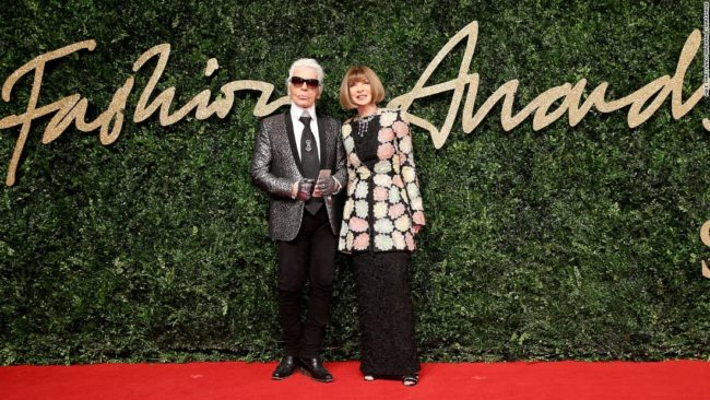 The British Fashion Council has announced the nominees for the 2016 Fashion Awards with simultaneous events in London and LA. Last year's award recipient Karl Lagerfeld pictured above with Anna Wintour
