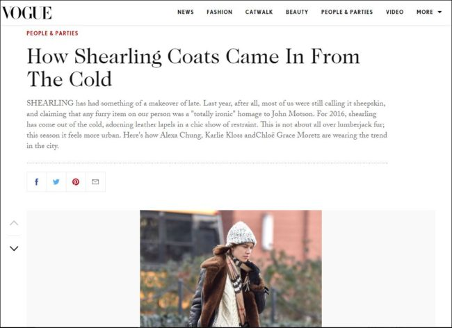 Vogue article about seharling trends for Fall 2016