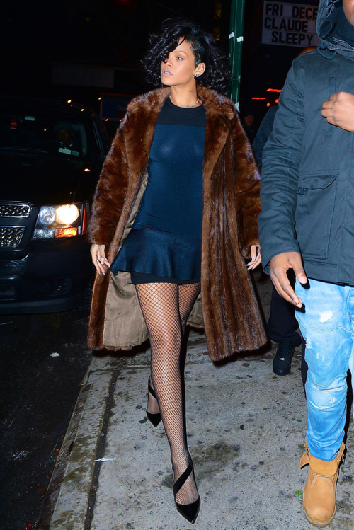 There's nothing basic or outdated when Rihanna rocks a classic mink silhouette