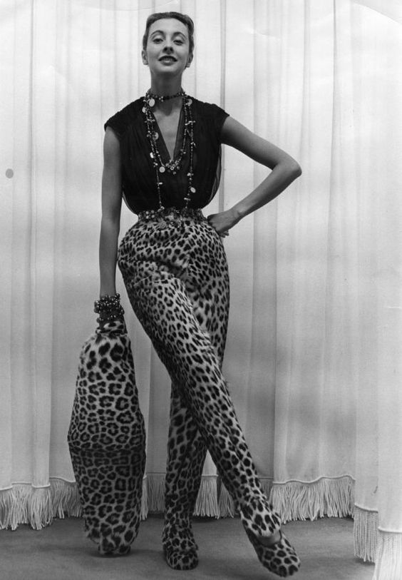 1951 Pierre Balmain's Leopard Slacks. Photo Credit: Getty Images