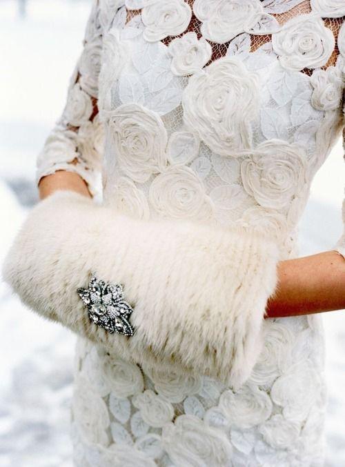 A fur muff conveys a retro elegance