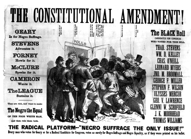 Anti negro Suffrage Bill- A poster rallying white voters to oppose enfranchisement (allowing African Americans to vote)