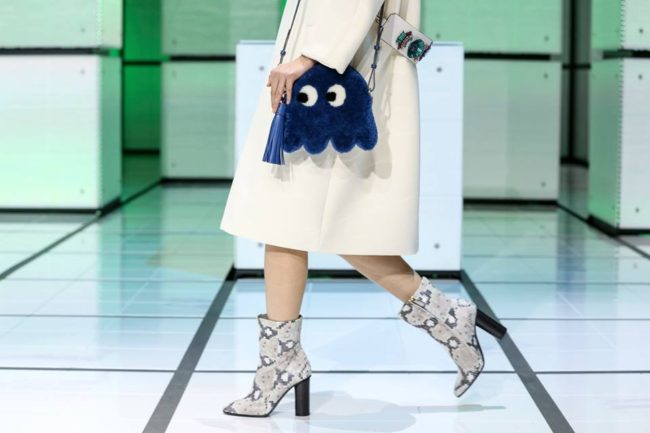 Anya Hindmarch Blue Shearling Pacman Shoulder Bag - Fall 2016