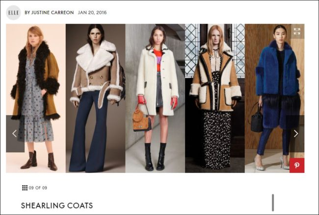 Elle magazine reports on the shearling trendfor fall 2016