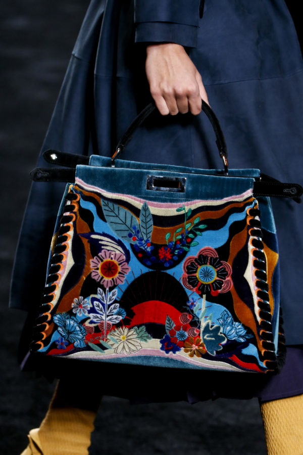 Fendi Multicolor Flower Printed Shearling Peekaboo Bag - Fall 2016