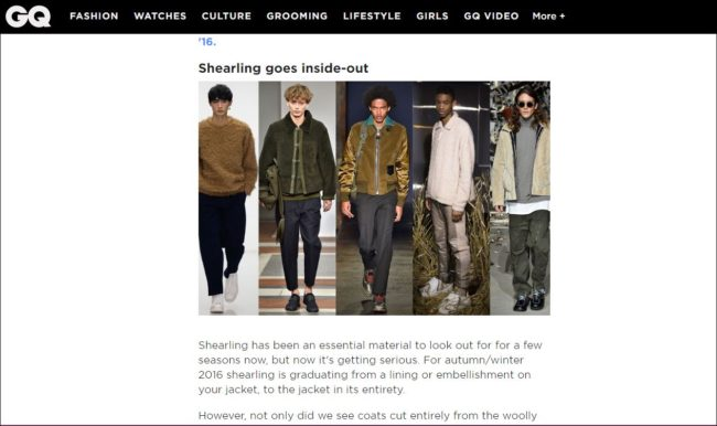 GQ Magazine's coverage of shearling for men
