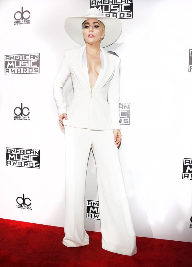 Lady Gaga in a striking and strong Brandon Maxwell white suite proved that she is a true BOSS