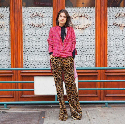 Blogger Streetstyle. Leandra Medine, of man Repeller, wears Dries van Noten leopard pants on November 10 2016