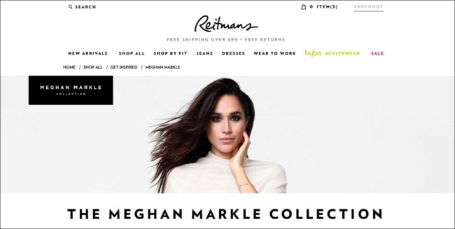 Meghan is helping to revamp the brand image of the Canadian clothing retailer Reitmans