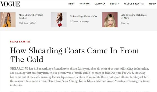 Voge magazine made a powerful statement about the popularity and must-have status of shearling for fall 2016