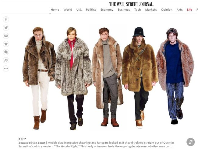"Volume is big with no less than the Wall Street Journal citing the massive, sumptuous bomber jackets and oversized shearlings and full-on furs as a ""must-have"" trend."