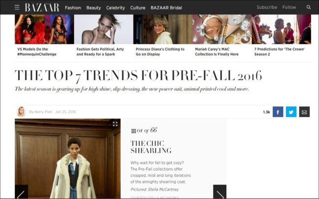 Harper's Bazaar also touted the shearling trend