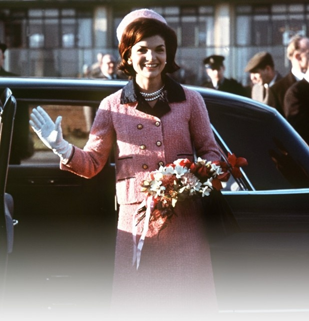 Jackie O's iconic pink chanel suit