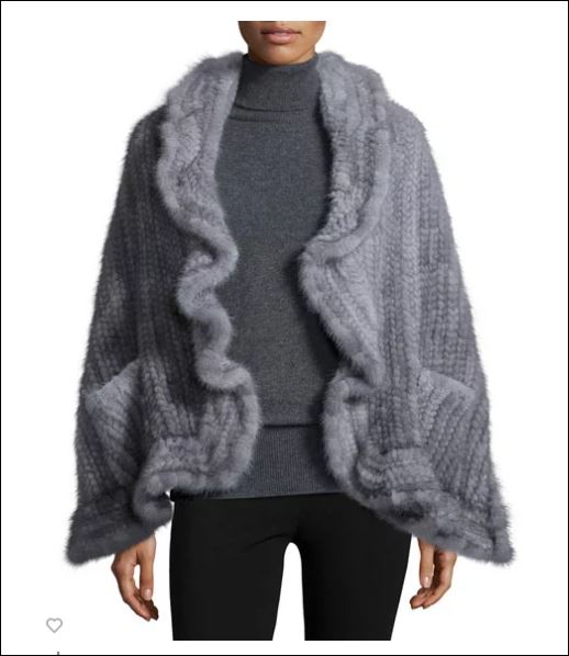 Adrienne Landau Mink Fur Knit Wrap with pockets