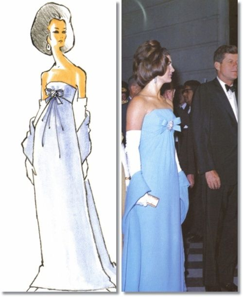 Jackie Kennedy 1962 Oleg Cassini Blue Strapless Dress and Sketch