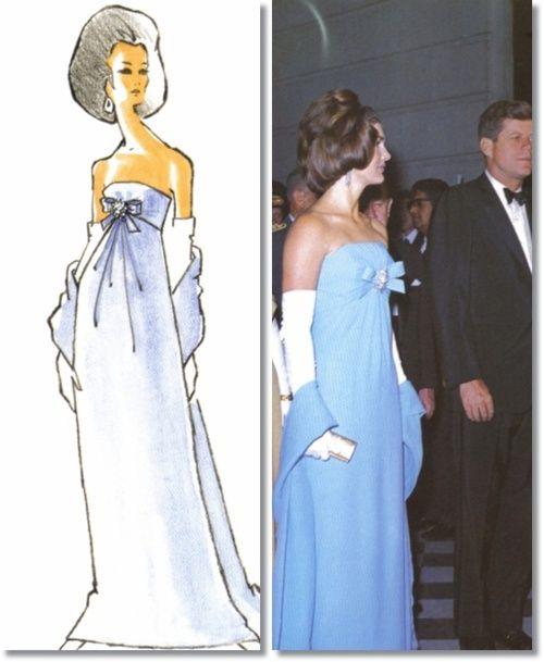 Jackie Kennedy 1962 Oleg Cassini Blue Strapless Dress and Sketch